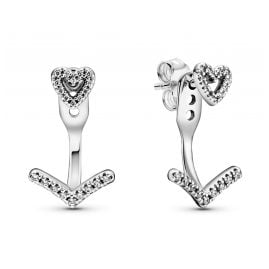 Pandora 299280C01 Ladies' Earrings Sparkling Wishbone Heart Silver