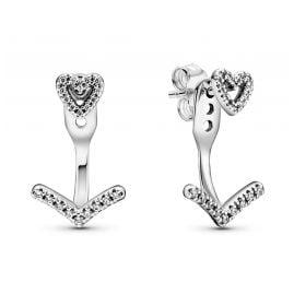 Pandora 299280C01 Damen-Ohrringe Sparkling Wishbone Heart Silber