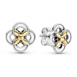 Pandora 299349C00 Ladies' Stud Earrings Silver Two-Tone Flower