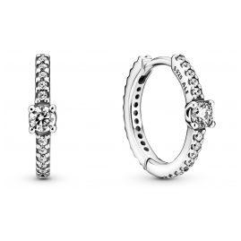 Pandora 299406C01 Damen-Ohrringe Silber Funkelnde Creolen