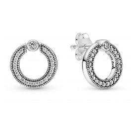 Pandora 299486C01 Damen-Ohrringe Silber Pavé & Logo Kreis