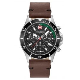 Swiss Military Hanowa 06-4337.04.007.06 Mens Watch Flagship Racer Chrono Brown Leather Strap