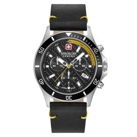 Swiss Military Hanowa 06-4337.04.007.20 Mens Watch Flagship Racer Chrono Black Leather Strap