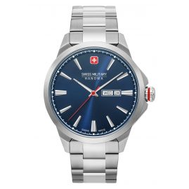 Swiss Military Hanowa 06-5346.04.003 Men's Wristwatch Day Date Classic Stainless Steel Blue