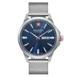 Swiss Military Hanowa 06-3346.04.003 Men's Watch Day Date Classic Mesh Stainless Steel Blue