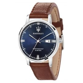 Maserati R8851130003 Men's Watch Eleganza Leather Strap Brown/Blue
