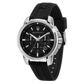 Maserati R8871621014 Men's Watch Chronograph Successo Black Silicone Strap