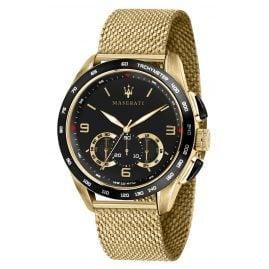 Maserati R8873612010 Herrenuhr Chronograph Traguardo Mesh-Armband goldfarben