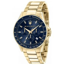 Maserati R8873640008 Men's Watch Chronograph Sfida Gold Tone/Blue