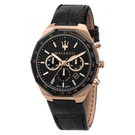 Maserati R8871642001 Men's Chronograph Stile Black/Rose Gold Tone