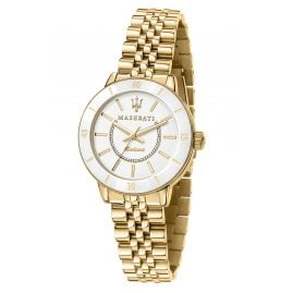 Maserati R8853145502 Women's Watch Successo Solar Ceramic Gold Tone/White
