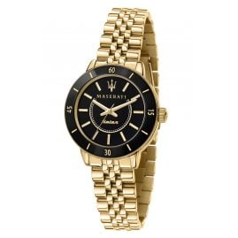 Maserati R8853145503 Ladies' Solar Watch Successo Ceramic Gold Tone/Black