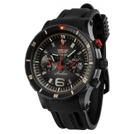 Vostok Europe 6S21-510C582 Anchar Chronograph Men's Watch Black with Two Straps