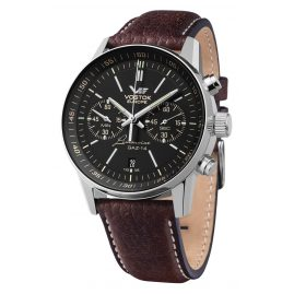 Vostok Europe 6S21-565A599 GAZ 14 Grand Chrono Men's Watch Black/Brown