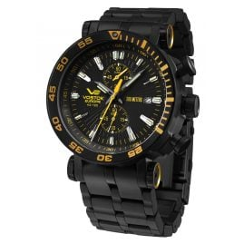 Vostok Europe VK61-575C589B Men's Watch with Steel Strap Energia Rocket Chrono Black