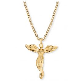 Engelsrufer ERN-LILANGEL-G Silver Necklace for Ladies Angel gold tone