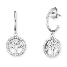 Engelsrufer ERE-LILTREE-ZI-CR Silver Hoop Earrings Tree of Life