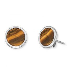 Engelsrufer ERE-TE-ST Women's Stud Earrings Silver Powerful Stone Tiger's Eye