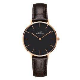 Daniel Wellington DW00100170 Ladies Watch Classic Petite York Black/Rosegold 32 mm