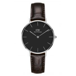 Daniel Wellington DW00100182 Ladies Watch Classic Petite York Black/Silver 32 mm