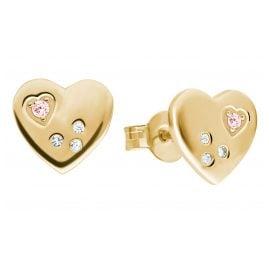 Prinzessin Lillifee 2029677 Ohrringe für Mädchen Herz Ohrstecker Silber vergoldet