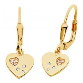 Prinzessin Lillifee 2029679 Children's Drop Earrings Heart Gold Plated Silver