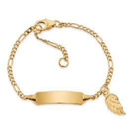 Herzengel HEB-ID-WING-G9K Kinder-Armband mit Gravurschild Gold