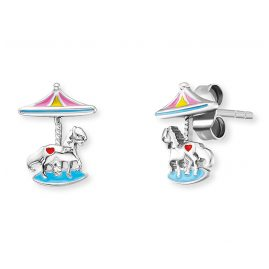 Herzengel HEE-CAROUSEL Kinder-Ohrringe Ohrstecker Karussell Silber