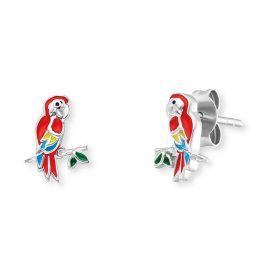 Herzengel HEE-PARROT Kinder-Ohrstecker Papagei Ohrringe Silber