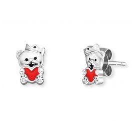 Herzengel HEE-TEDDYLOVE Children's Stud Earrings Teddy Bear Silver