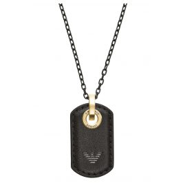 Emporio Armani EGS2706710 Men's Necklace Stainless Steel Leather Black