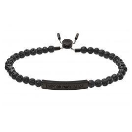 Emporio Armani EGS2478001 Men's Bracelet Heritage Black Lava Stones