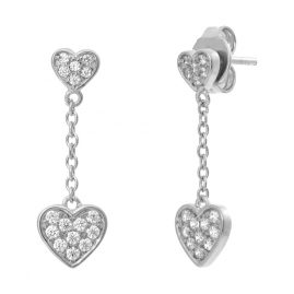 Julie Julsen JJFER0397.1 Silver Drop Earrings for Ladies Heart
