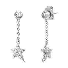 Julie Julsen JJFER0412.1 Silber Ohrhänger für Damen Stern Ohrringe