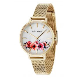 Julie Julsen JJW20YGME Ladies' Watch Flower Gold Tone Mesh