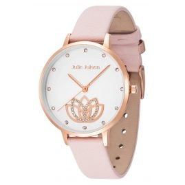 Julie Julsen JJW1018BRGL-2 Ladies Watch Lotus Flower Leather Strap pink / rose gold