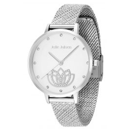 Julie Julsen JJW1018SME Ladies Watch Lotus Flower Ø 36 mm silver tone / white