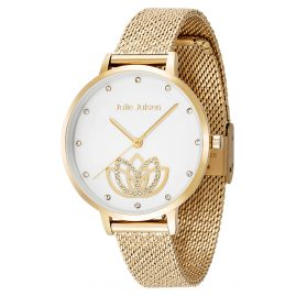 Julie Julsen JJW1018YGME Ladies Watch Lotus Flower Ø 36 mm gold tone / white