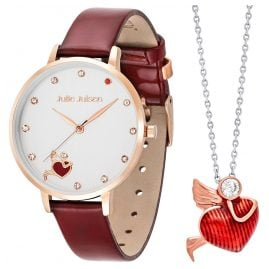 Julie Julsen JJW1540RGL-Set Ladies' Watch and Necklace Angel Of Heart Burgundy