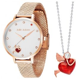 Julie Julsen JJW1540RGME-Set Damenuhr und Halskette Angel Of Heart Rosé