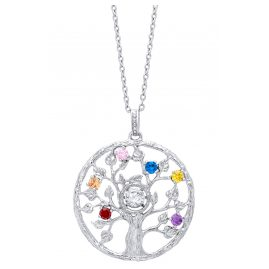 Julie Julsen JJDNE0779.1 Ladies Necklace Tree of Life Dancing Stone Silver