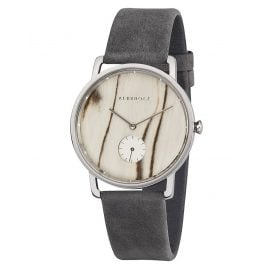 Kerbholz Wooden Ladies Watch Frida White Birch Asphalt Grey