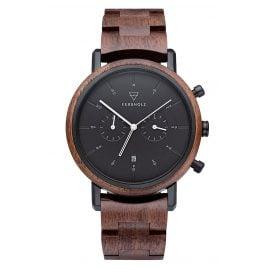 Kerbholz Herren-Armbanduhr Chronograph Johann Walnuss/Schwarz