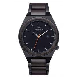 Kerbholz Holz-Armbanduhr für Herren Paul Sandelholz/Orange