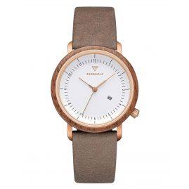Kerbholz Damen-Armbanduhr Carla Walnuss/Schoko