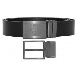 Hugo 50397537 Leather Men's Reversible Belt Gino Black