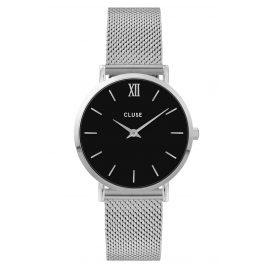 Cluse CW0101203005 Damenuhr Minuit Mesh-Armband silber / schwarz