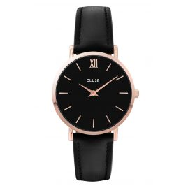 Cluse CW0101203013 Ladies' Watch Minuit Leather Strap black / rose gold