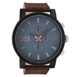 Oozoo C9030 Herrenuhr im Chrono-Look Braun/Blaugrau 50 mm