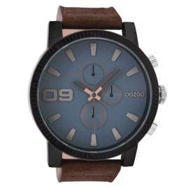 Oozoo C9030 Herrenuhr im Chrono-Look Braun/Blaugrau 50 mm